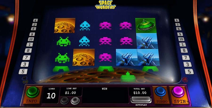Skill-based slot machines - Space Invaders slot